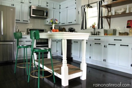 white kitchen renovation with custom island, Rain On a Tin Roof on Remodelaholic.com