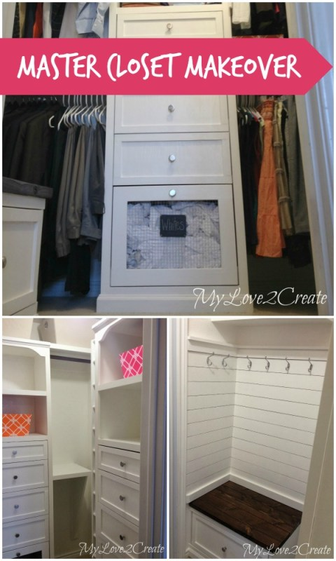 Amazing master closet makeover! storage towers, built-in laundry hampers, and a mudroom-style bench with a drawer! MyLove2Create on Remodelaholic.com