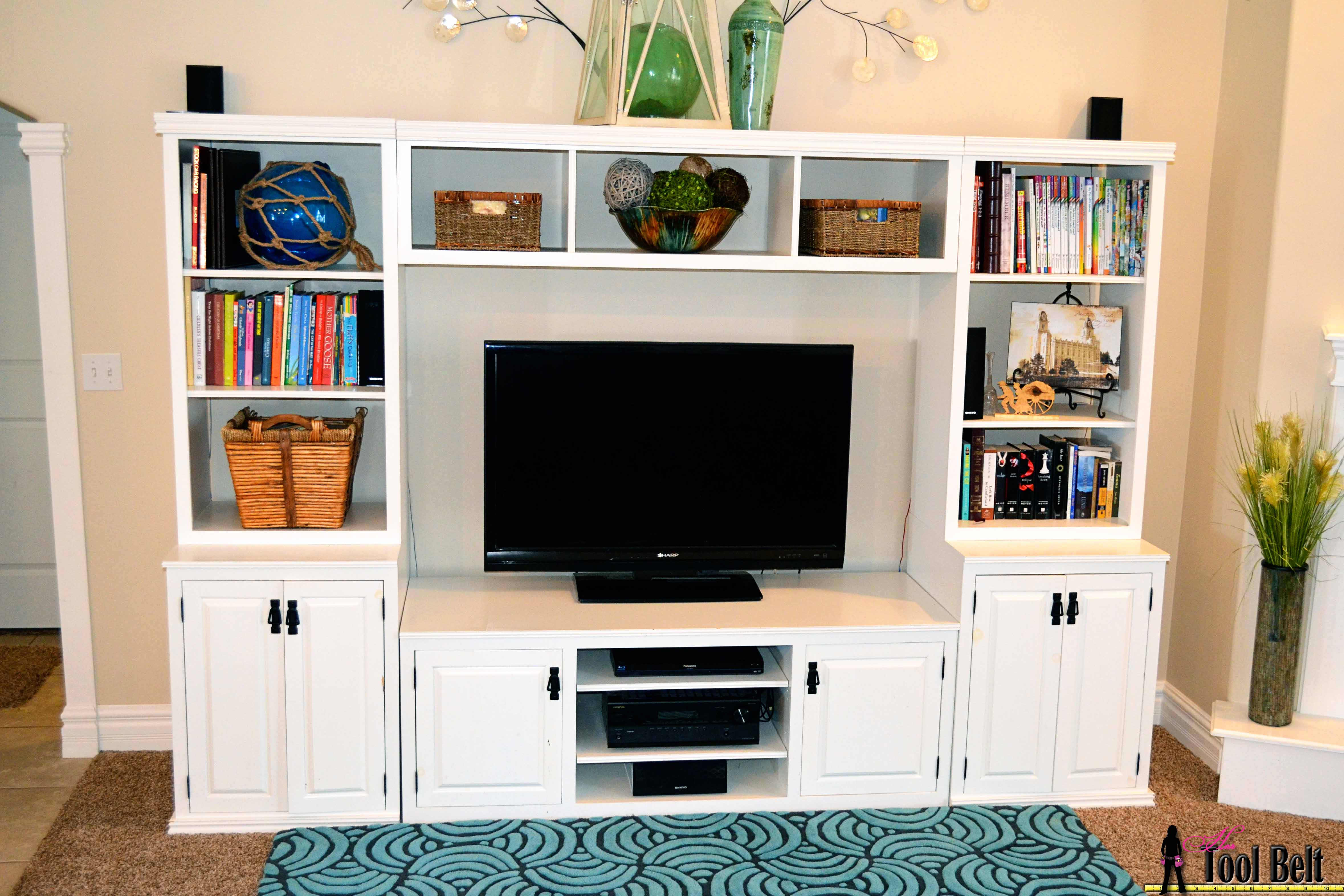 How To Build A Pottery Barn Inspired Media Center, Her Tool Belt On  Remodelaholic