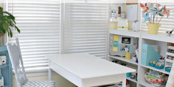 Small Desk Turned Large Workspace via Remodelaholic.com