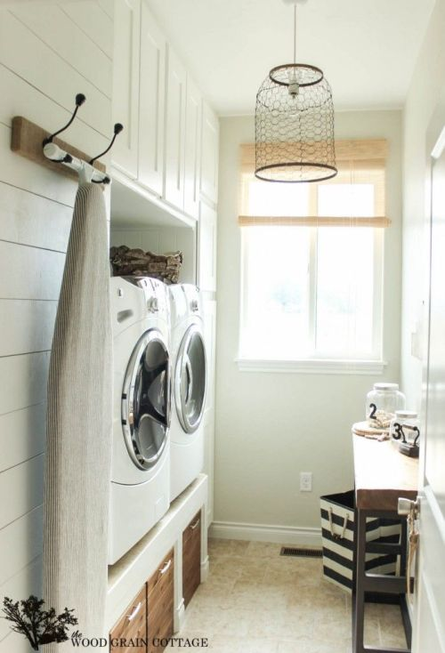 Small Laundry room inspiration with built-ins featured on Remodelaholic.com