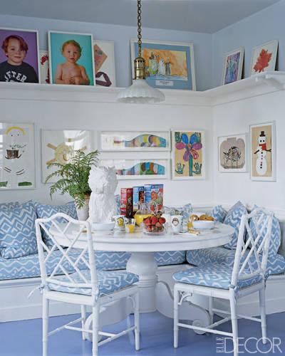 art gallery corner banquette with ledge shelf
