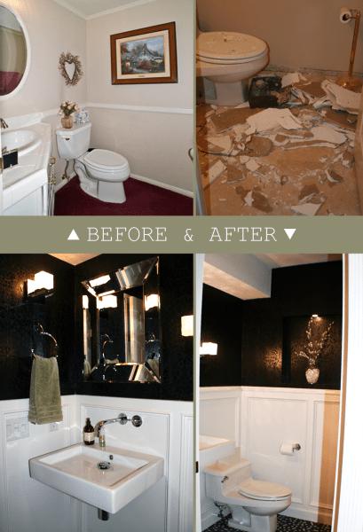 black and white powder room makeover