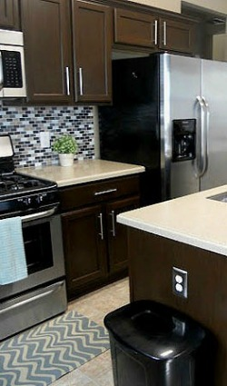 chocolate brown painted cabinets