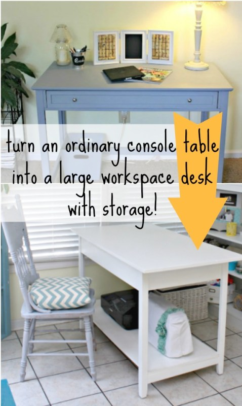 Turn a console table into a workspace desk with storage! Mom 4 Real on Remodelaholic.com #desk #storage #diy