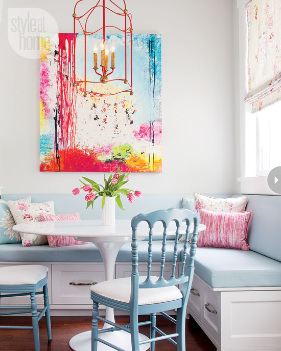corner banquette with large art