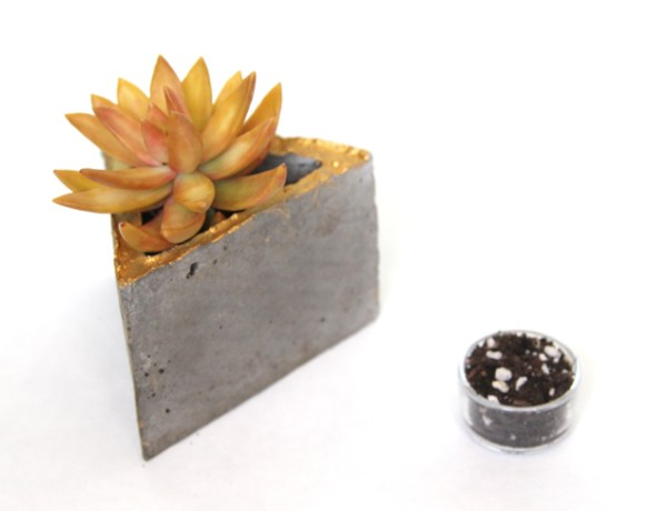 diy gold gilded geometric concrete planter set, A Piece of Rainbow on Remodelaholic