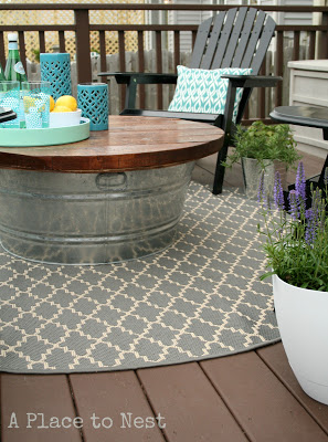 diy metal bucket patio coffee table