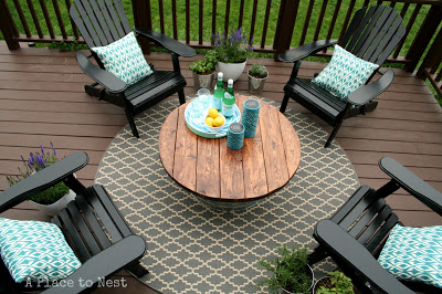 diy patio coffee table from a bucket
