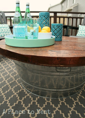 outdoor coffee table with metal bucket base