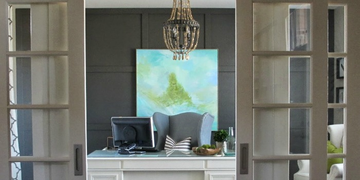 Remodelaholic Home Office Makeover With Diy Wood Bead