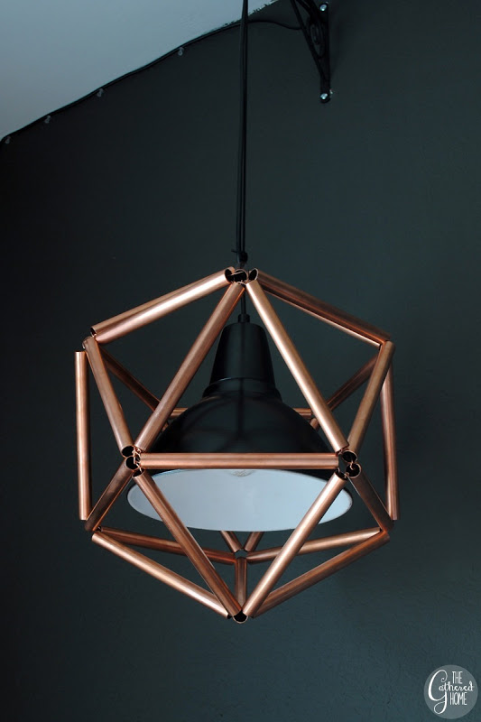 DIY Geometric Icosahedron Copper Pipe Pendant Light