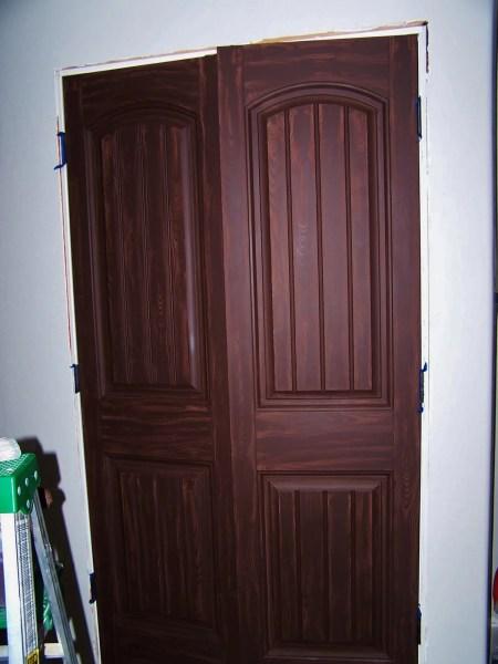 glazed wood closet door makeover