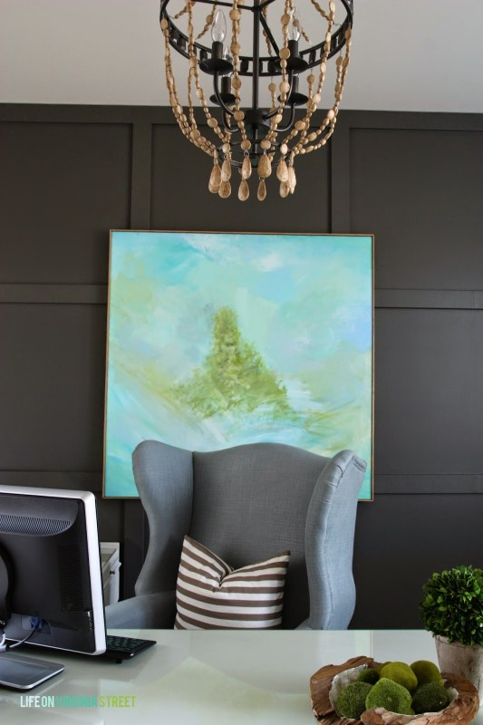 gray office with wood bead chandelier, Life on Virginia Street on Remodelaholic