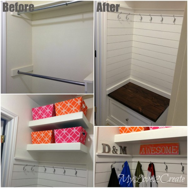 master closet mudroom area with plank wall and hooks, My Love 2 Create on Remodelaholic