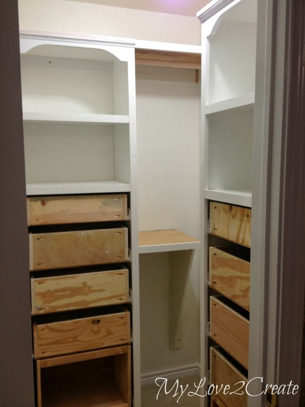 master closet shelf makeover with rods, My Love 2 Create on Remodelaholic