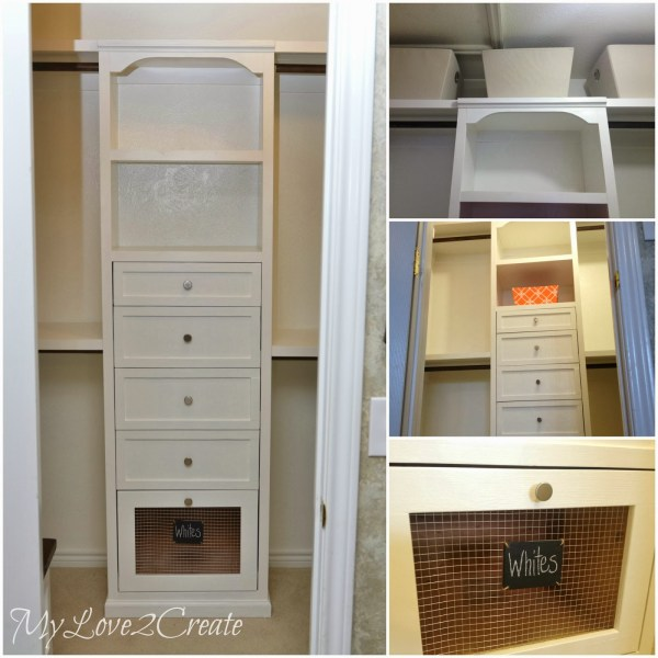 master closet tower with storage and shelves, My Love 2 Create on Remodelaholic