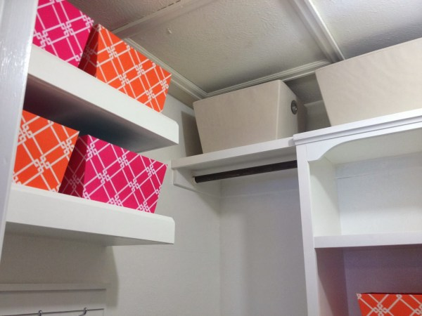 master closet with floating shelves and storage, My Love 2 Create on Remodelaholic