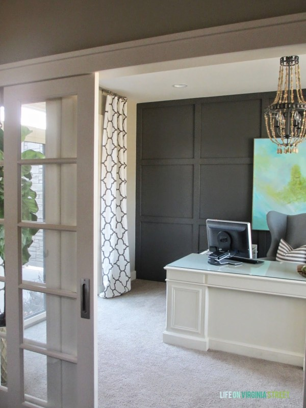 modern office with faux wood bead chandelier, Life on Virginia Street on Remodelaholic