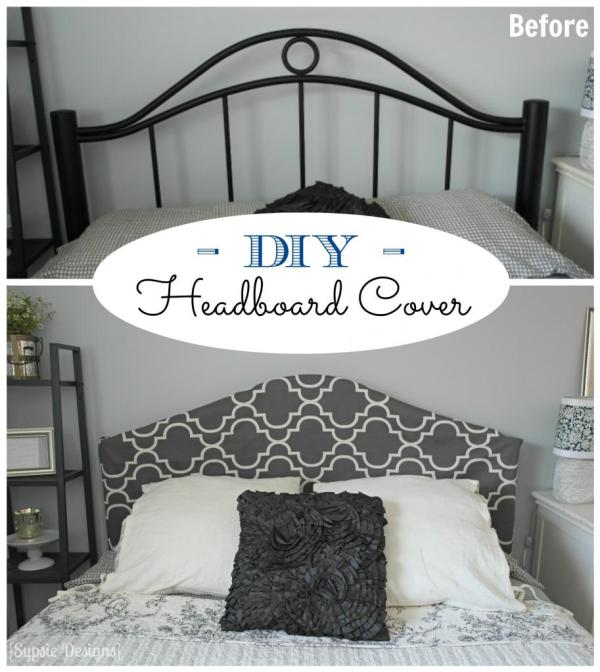 No-Sew Metal Headboard Slipcover | Sypsie Designs on Remodelaholic.com #headboardweek #diy #budget
