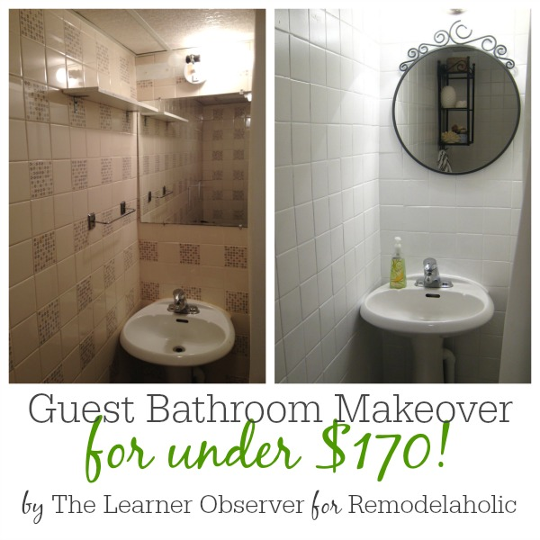 remodelaholic a 170 bathroom makeover with painted tile rh remodelaholic com Painting Bathroom Tile Paint Painting Bathroom Tile Before and After