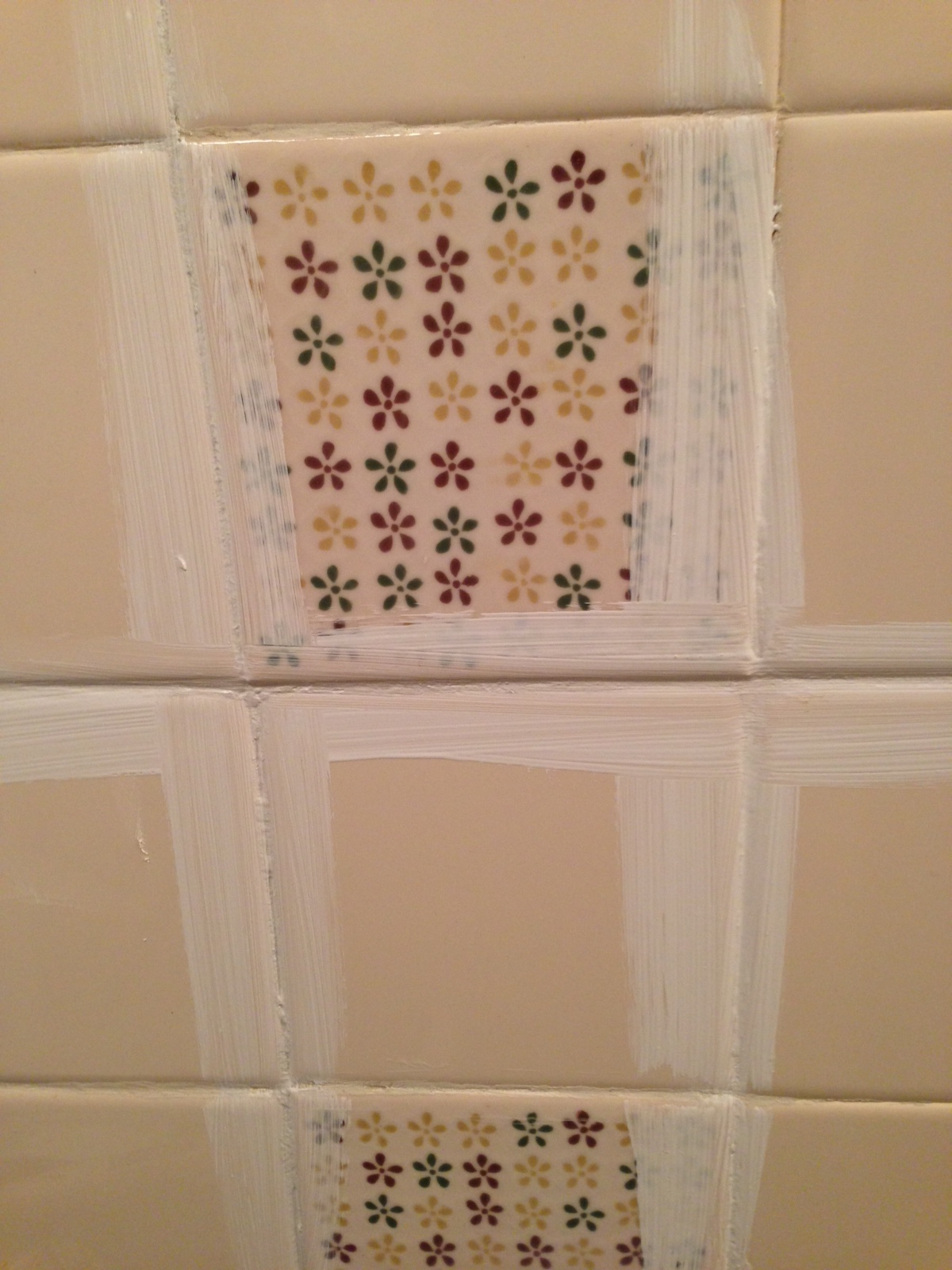 Remodelaholic a 170 bathroom makeover with painted tile how to paint tile by the learner observer on remodelaholic dailygadgetfo Images