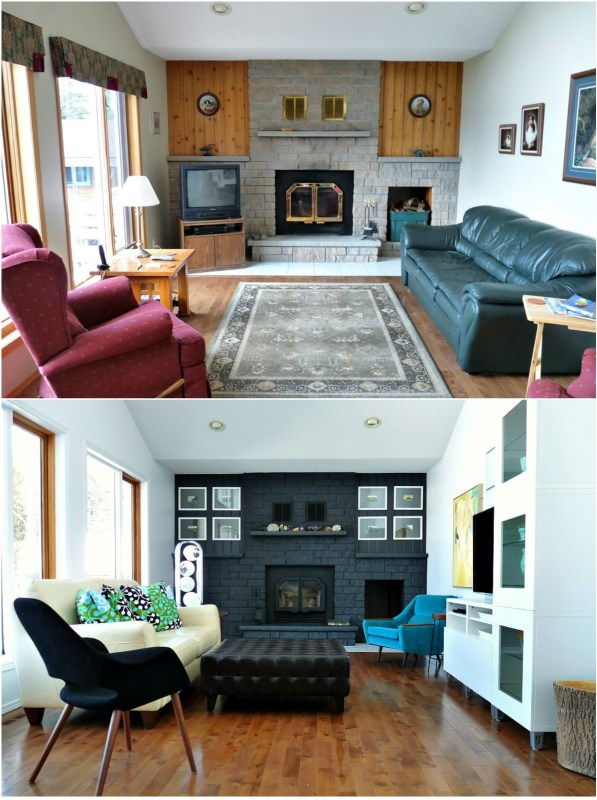 Living Room Before and After with Dark Painted Fireplace, Dans le Lakehouse on Remodelaholic.com