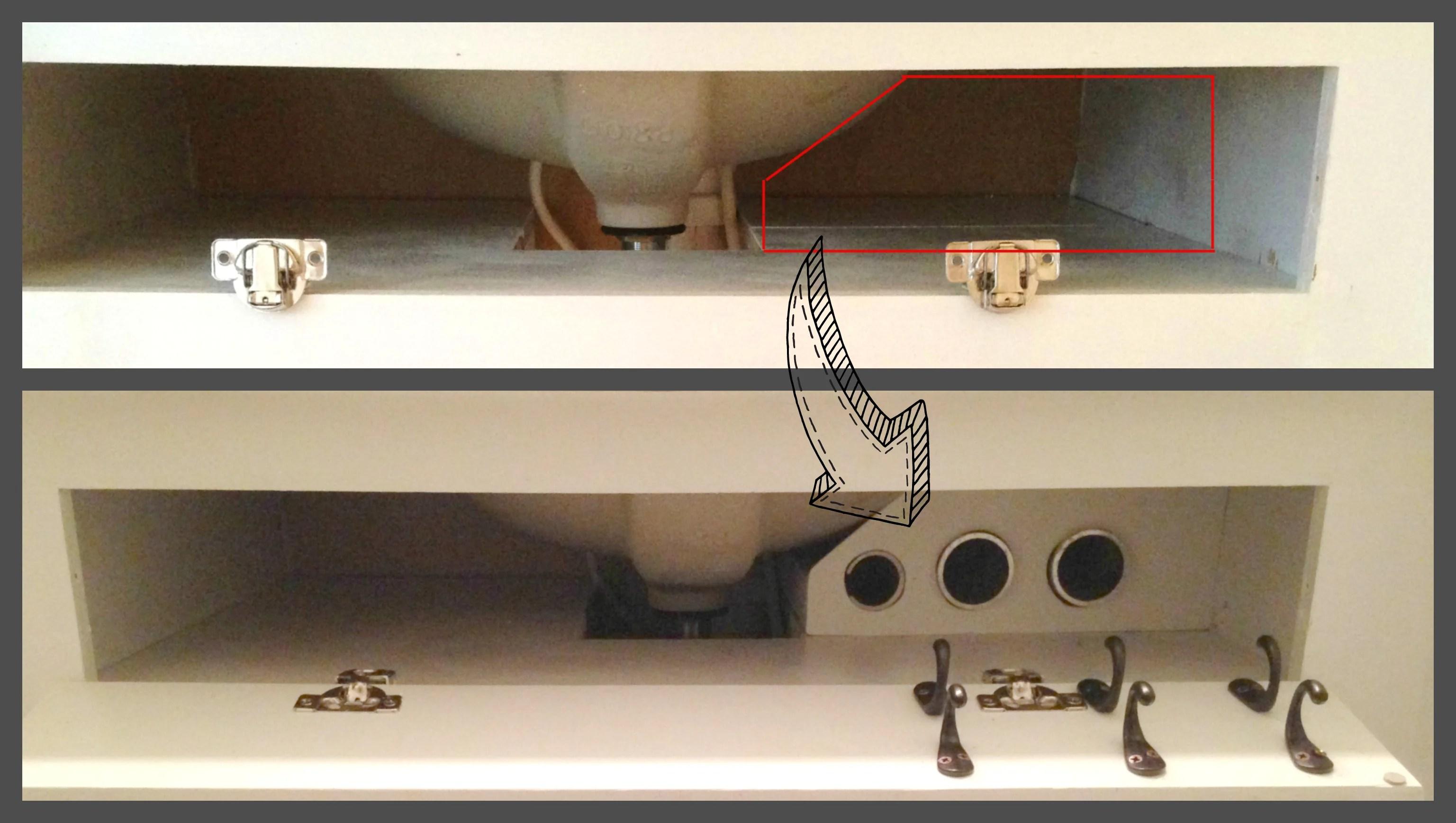 diy under the sink hair tool storage