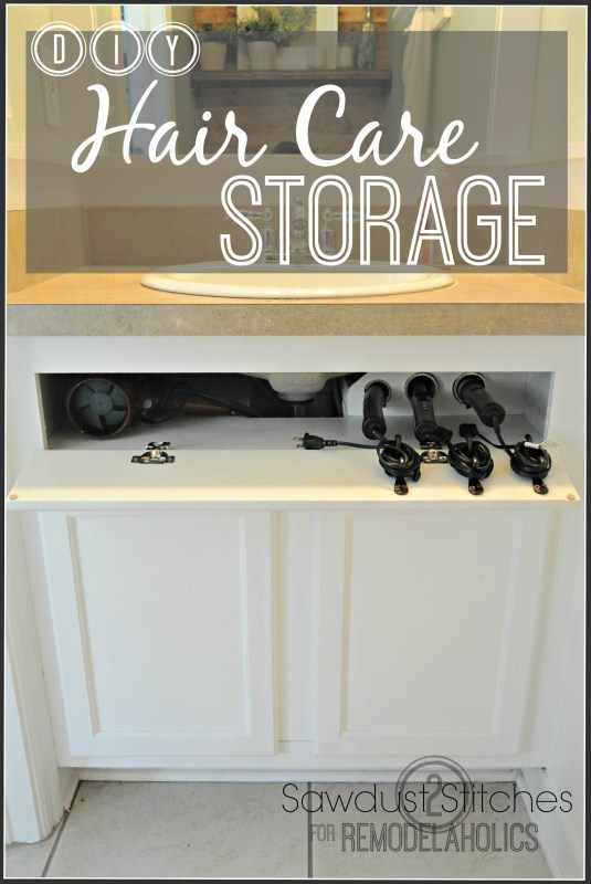 DIY Hot Hair Tool Storage @remodelaholic.com #haircarestorage #bathroomorganization #curlingironstorage #bathroomstorage
