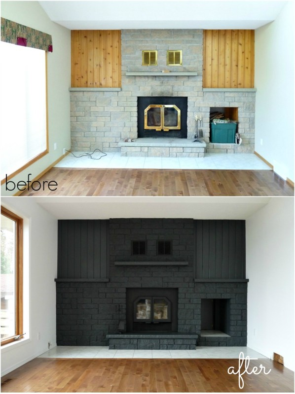 Painted Fireplace Makeover, Dans le Lakehouse on Remodelaholic.com