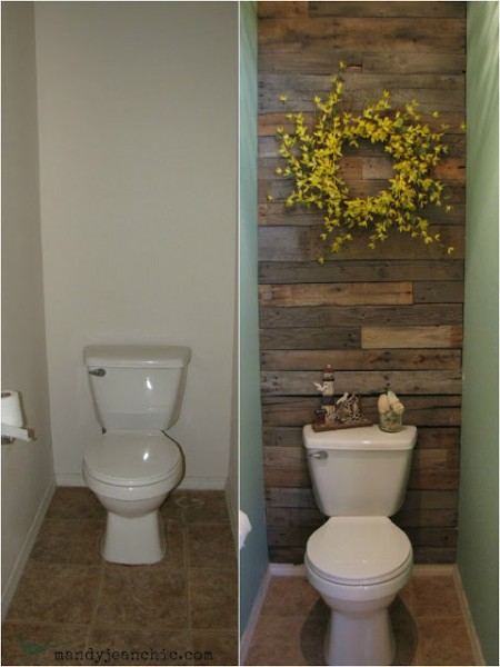 pallet wood accent wall on Remodelaholic.com