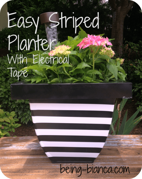 striped planter with electrical tape