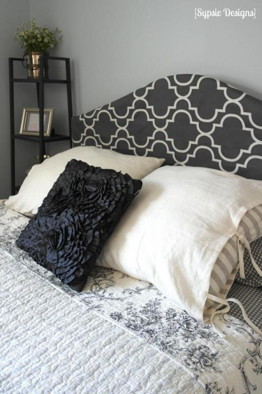 tutorial for a no-sew fabric headboard slipcover, Sypsie Designs on Remodelaholic.com