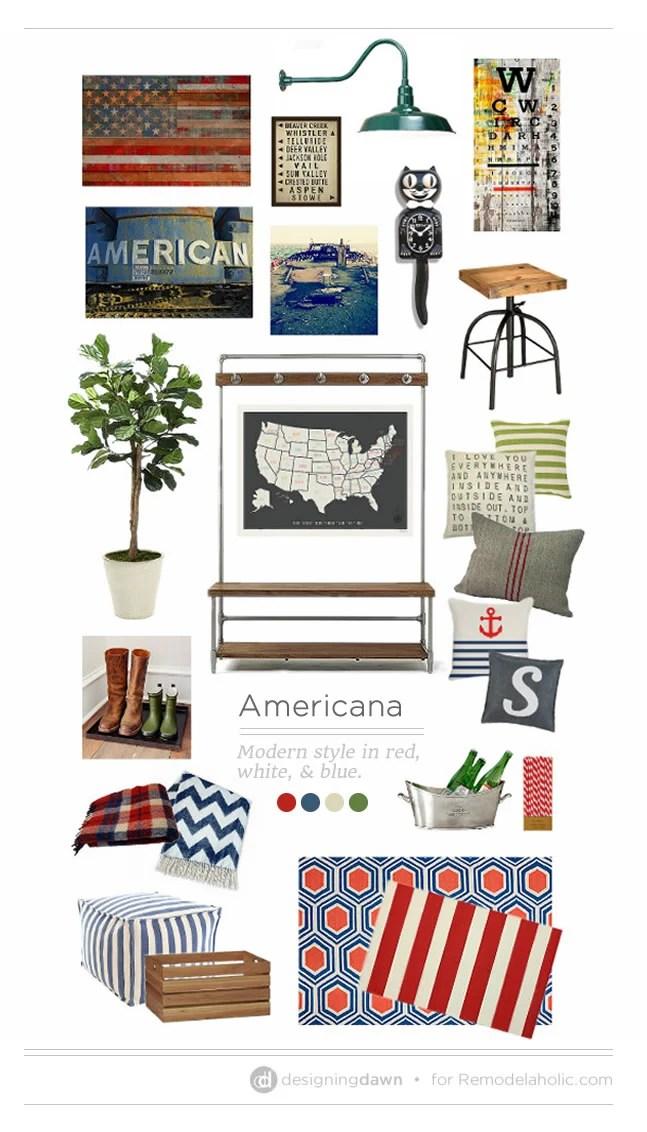 Americana MoodBoard by Designing Dawn for Remodelaholic.com
