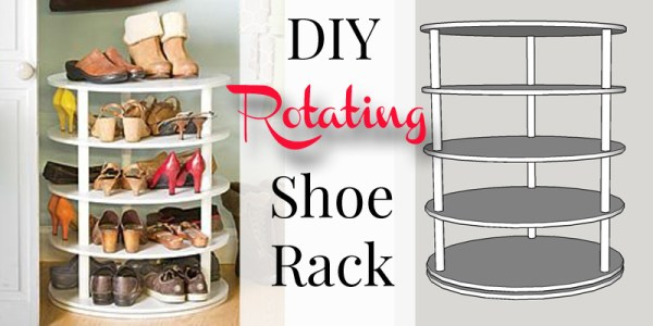 DIY rotating shoe rack on Remodelaholic.com