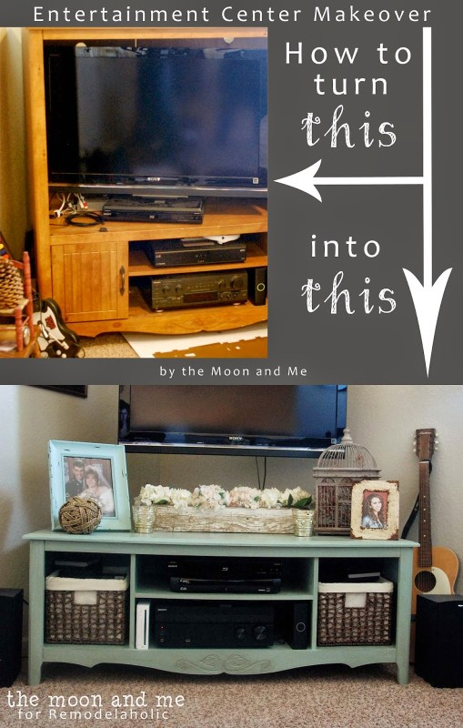 How to turn an old entertainment center into a tv console, The Moon and Me on Remodelaholic