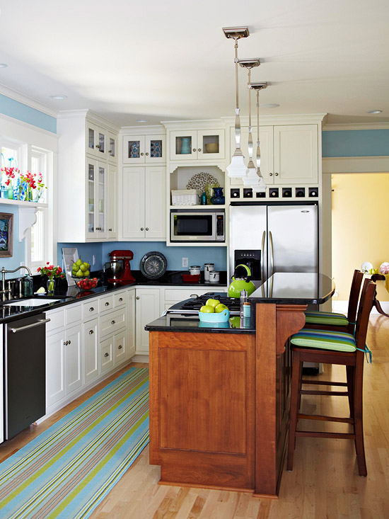 L kitchen layout with island via BHG