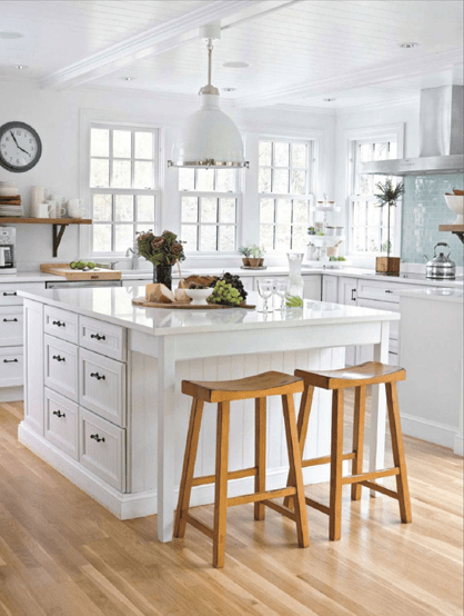L shaped country kitchen layout with large island via DecorPad