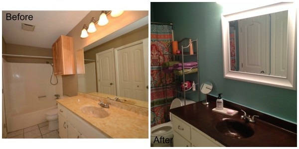 Marble to Concrete vanity, before and after, reader built from Remodelaholic plans