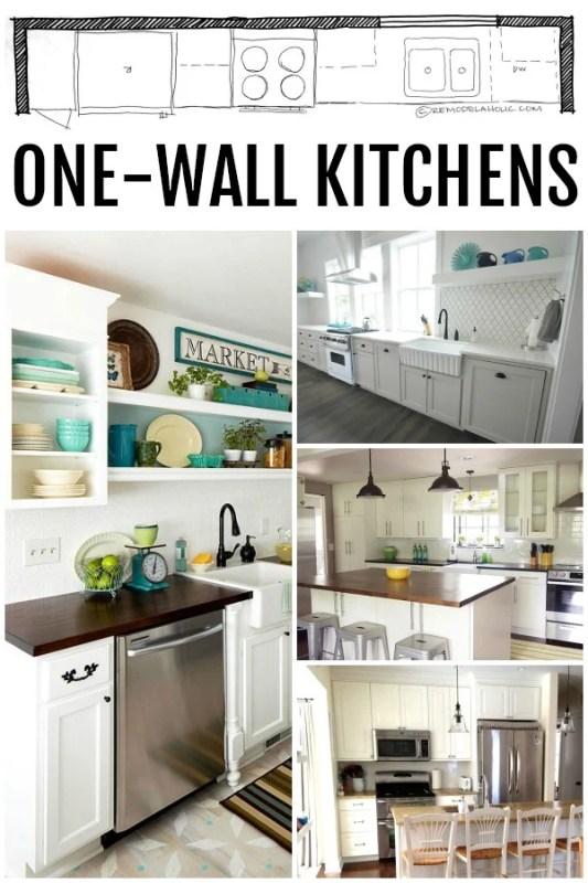 KITCHEN DESIGN | Single Wall Kitchen Layouts via Remodelaholic.com