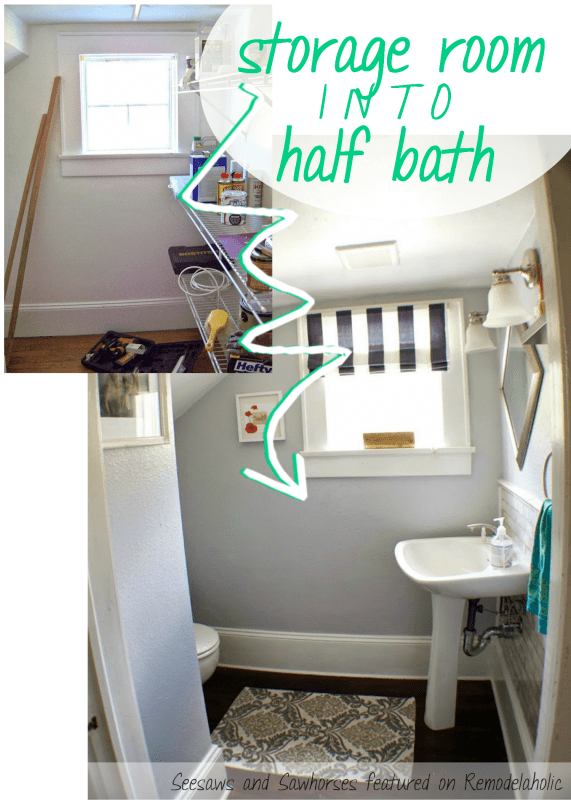 Complete Remodel! Storage Room Into Half Bath | Seesaws and Sawhorses via Remodelaholic.com