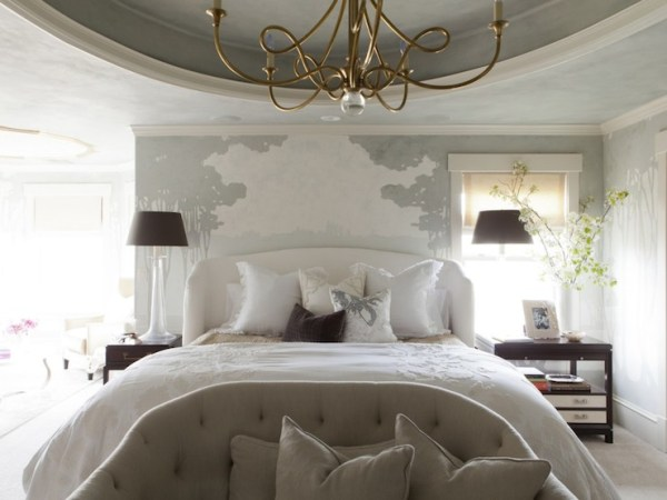 arched wingback upholstered headboard in white via DecorPad