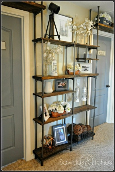 budget-friendly industrial shelving, Sawdust 2 Stitches on Remodelaholic