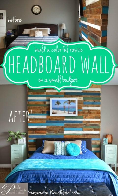 Build a Plank Headboard Wall | Pearls Pinstripes and Peanut Butter featured on Remodelaholic.com #headboardweek #headboard #accentwall #tutorial