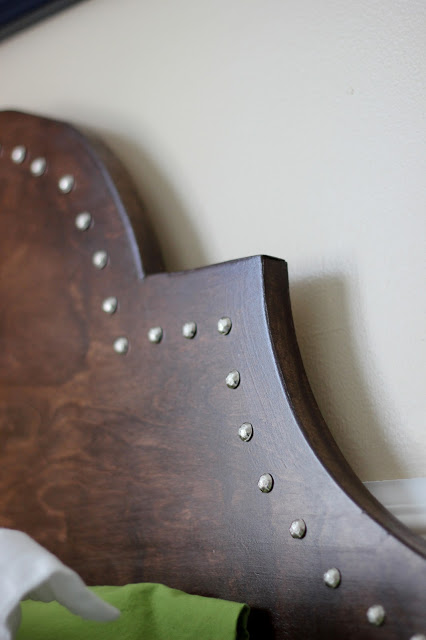 curved stepped keystone headboard in wood with nailhead trim, DIY on the Cheap