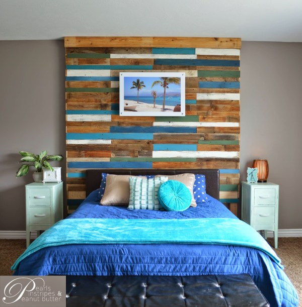 diy headboard wall tutorial, Pearls Pinstripes and Peanut Butter on Remodelaholic