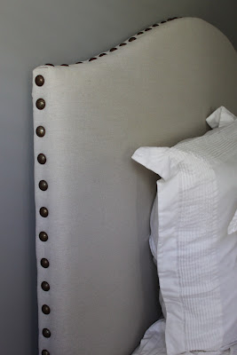 dropcloth camelback headboard with side nailhead trim, DIY Show Off