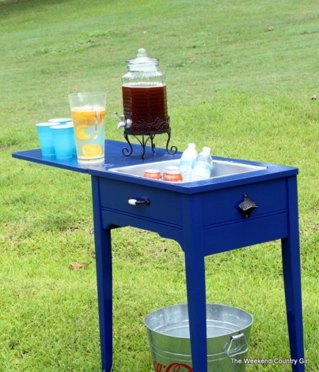 furniture makeover - sewing table to drink cooler