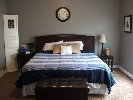 master bedroom before plank headboard wall