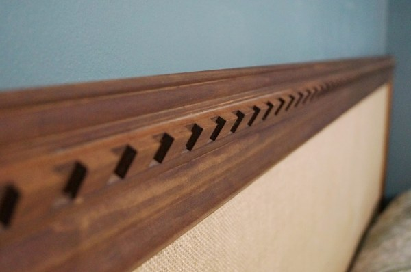 no tools required burlap and wood trim easy headboard, Do Not Disturb This Groove on Remodelaholic